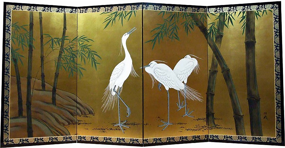 竹に白鷺-Egrets in Bamboo Forest-